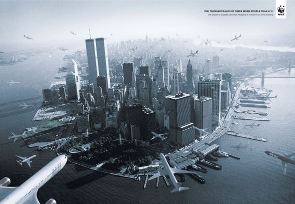 WWF Brasil tsumami 25 Creative Advertising on Building