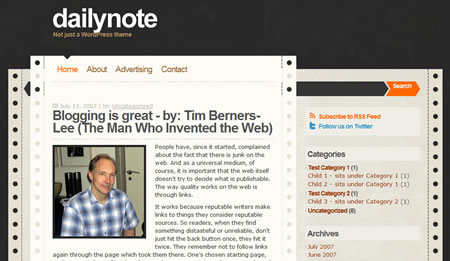 dailynote 20+ Free Premium WordPress Themes of January 2010