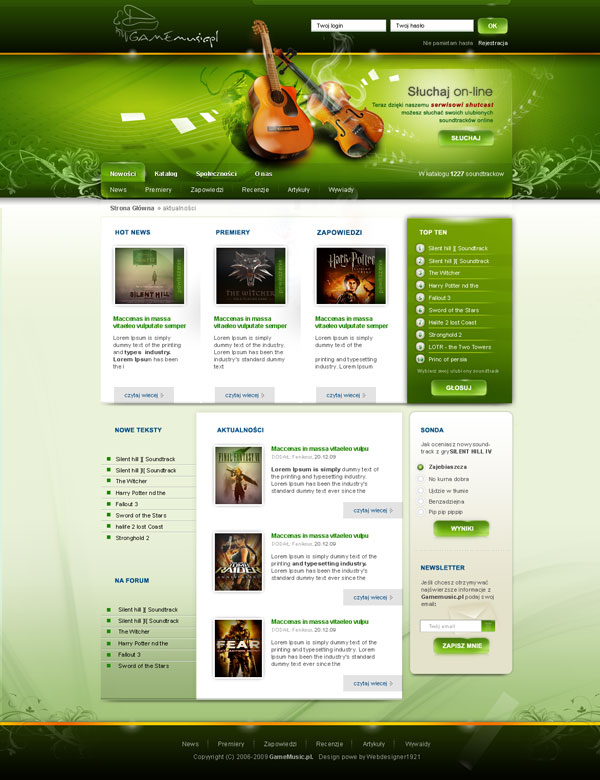 game music 4 by webdesigner19211 Fresh Examples of Web Design and Interfaces