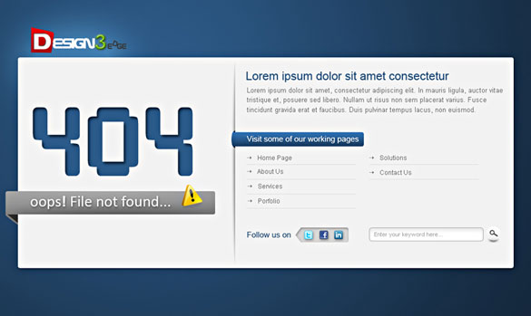 404 error template Free Professional PSD Web Templates