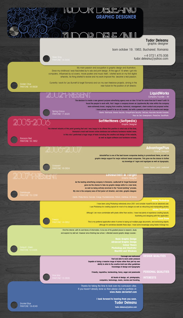 Creative Résumés 6 30+ Striking and Creative Resumes