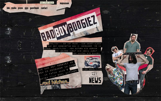badboyboogiez 20 Original Solutions for a Musician's Flash Website