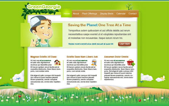 green georgie free psd website template Free Professional PSD Web  Templates