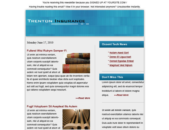 insurance email template Free Professional PSD Web Templates