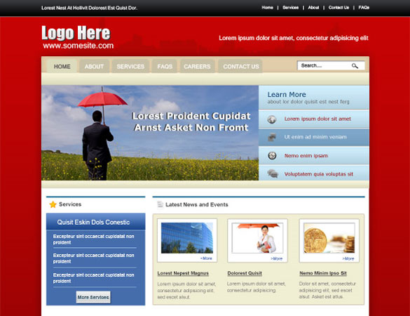 insurance psd website Free Professional PSD Web Templates
