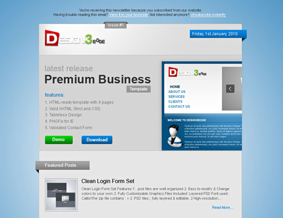 premium newsletter theme psd Free Professional PSD Web Templates