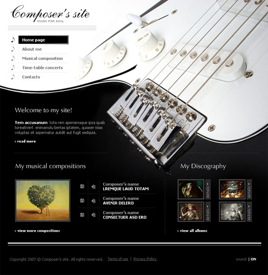 templates entheosweb 20 Original Solutions for a Musician's Flash  Website