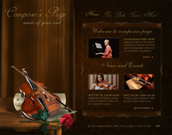 websitetemplates 20 Original Solutions for a Musician's Flash  Website