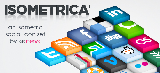 16 01 isometrica social icon leading 30 Free Social Media Icon<br /> Sets For Bloggers