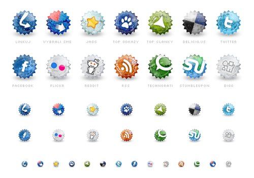 set of social grunge icons 30 Free Social Media Icon Sets For  Bloggers